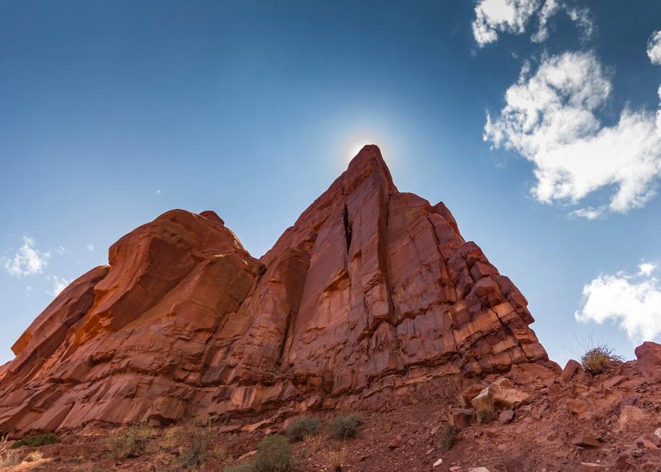 Red rock peak found at Monument Valley in Arizona