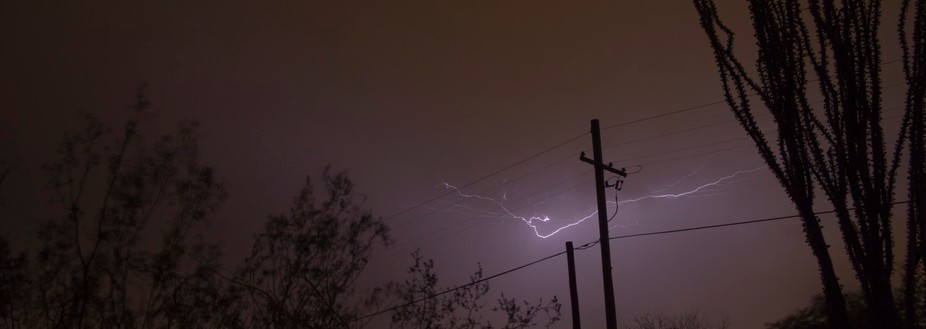 It looks as if lightning was dancing on the power lines.