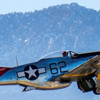 "P-51 Mustang ""Bunny""on takeoff from the Palm Springs Airport during flight demonstration for the Palm Springs Air Museum"