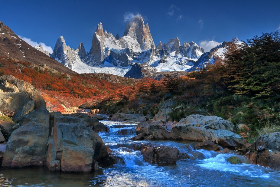 So many people seemed to like Fitz Roy, here is a another view. The difficulty was to avoid falling into the stream!