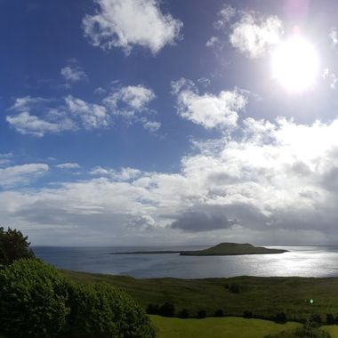 View of the bay from the Flodigarry Hotel in the North of the isle of Skye, Scotland.