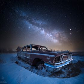 "From the Stardust and Rust series... ""Galaxie 500"" Abandoned 1963 Ford Galaxie 500 4 door sits in a field under the stars in rural Sou..."