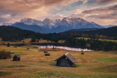 Germany. Bavaria. Evening on the lake Geroldsee