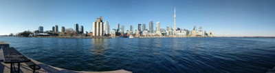 Panorama waterline view City of Toronto Skyline from  Billy Bishop airport on a sunny winter day - Photo by Robson Smith