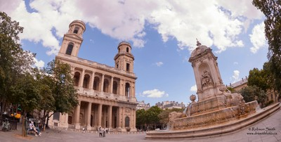 Church of Saint-Sulpice with Fountain in summertime - photo by Robson Smith