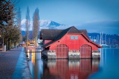Red Boathouse on Lake Lucerne