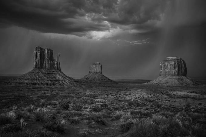 Lightning and rain above the Mittens, Monument Valley, Navajo Nation, USA by scottsinclair - Black And White Landscapes Photo Contest