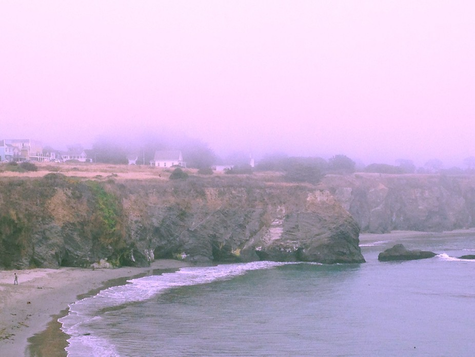 Mendocino, California getting lost in the pastels of the fog.