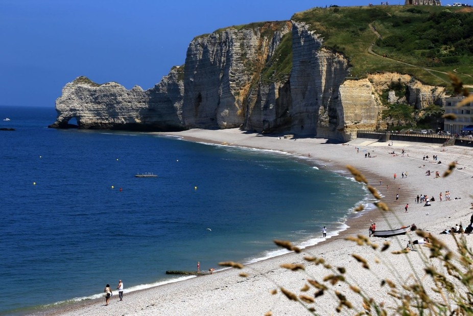 View from the hill side, an awesome walk up, try running, of Etretat Normandy
