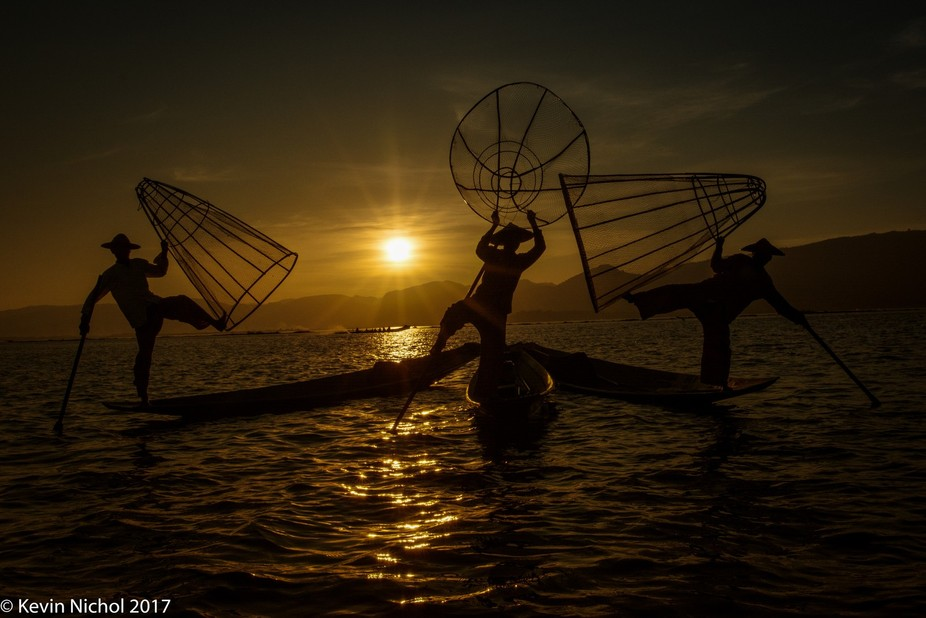 On Inle Lake in Myanmar these fishermen are famously known as the leg rowers, this is the only pl...