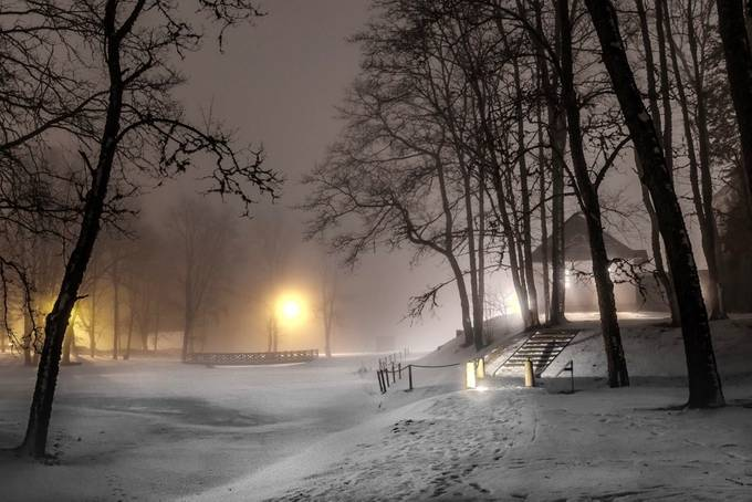 Foggy evening by vleprutt - Winter Long Exposures Photo Contest