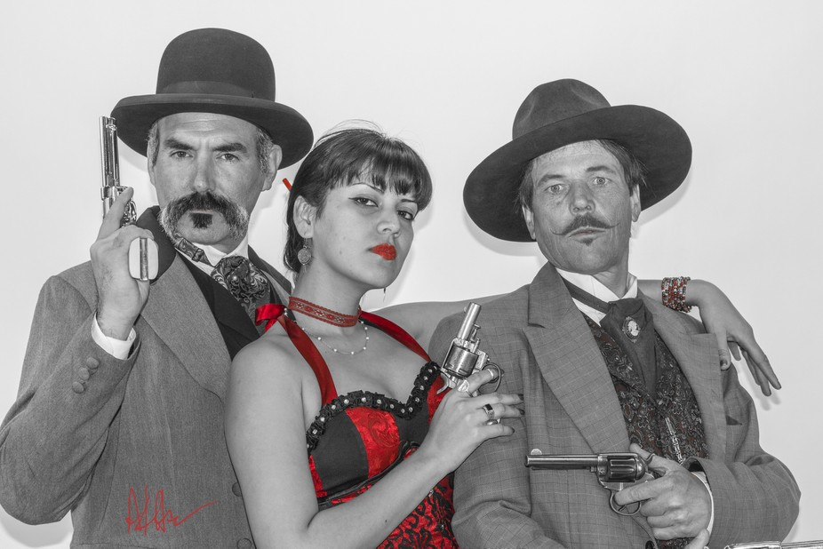 A gang of three infamous characters from the old wild west.