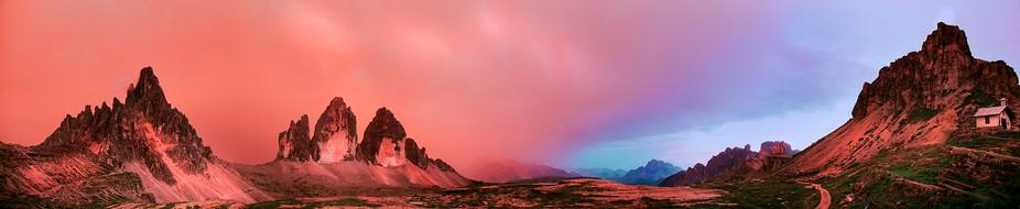 Panorama made in Dolomiti Alps during sunset.