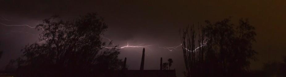 A horizontal sheet or crawler lightning strike