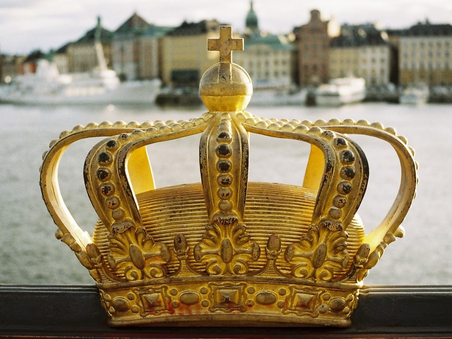 This may be the most photographed crown in the world. It is on Skeppsbron in Stockholm. Photograp...