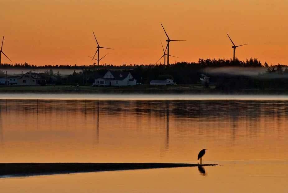 Early morning with A rare no wind day at Miscou Island in New-Brunswick, Canada.