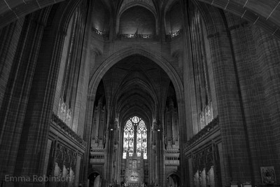 Inside Liverpool Cathedral looking to the alter