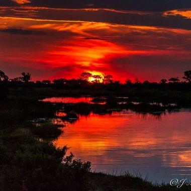 Sunset on the Linyati River in Botswana