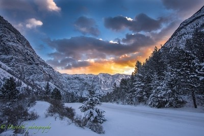 Sunset in the winter mountains