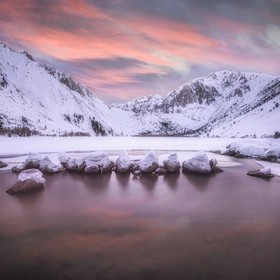 Sunset at Convict lake in the Eastern Sierras
