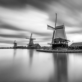 Zaanse Schans, always worth a trip. We were expecting a colorful sunrise but had bad luck. A long exposure converted to black and white made a fi...