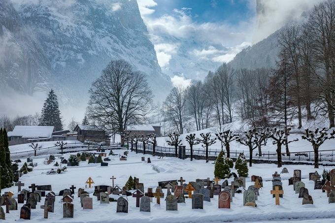 Grindlewald Cemetary by ericcriswell - Towns In The Winter Photo Contest