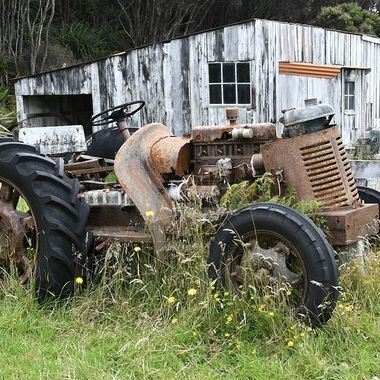 The Mason's bay woolshed and tractor
