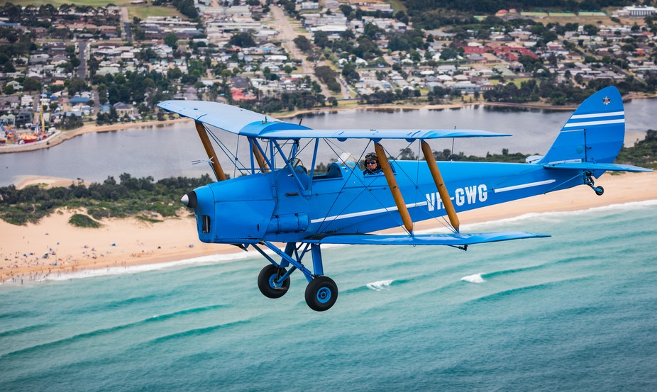 A 1943 Tiger Moth in action over Lakes Entrance