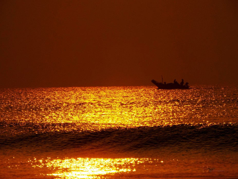 Sea water turning gold in first morning rays