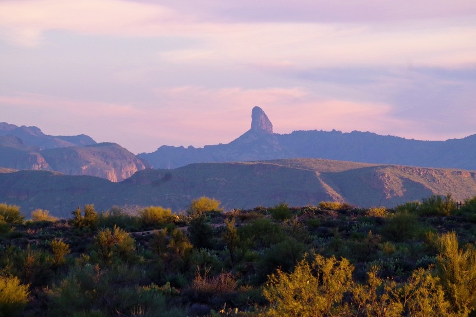 This was taken at Four Peaks Arizona early one morning as the sun was coming up.