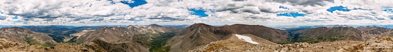 If I remember right if you face East it is to the right of Mt Republican (both Colorado 14ers
