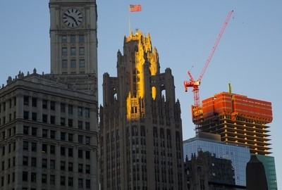 Tribune sunlit building