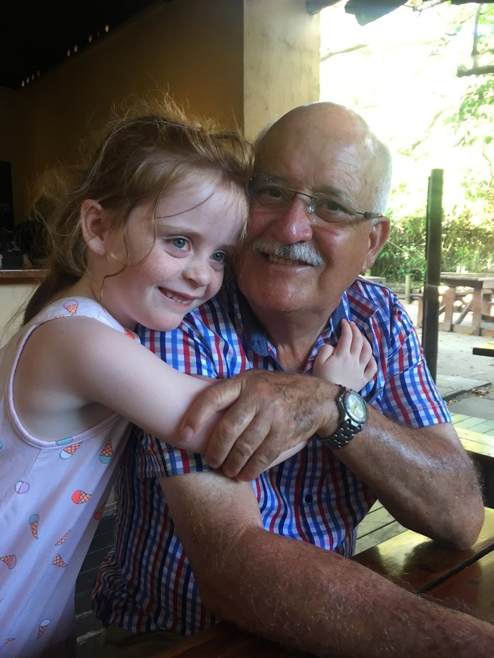 Grandfather love with his 5-year old granddaughter