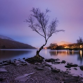 Llyn Padarn in Snowdonia mountain range. A brief blast of purple before a muted sunrise in the rain.