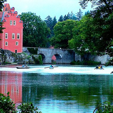 I took this photo when I went on holiday with family at the Czech Republic, in the year 2011.  Our friends, who live in this country, took us to see tha castle of Cervena Lhota which had a picturesque view of the lake and the surrounding gardens.
