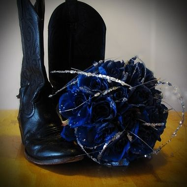 My wedding bouquet and my husband's cowboy boots.