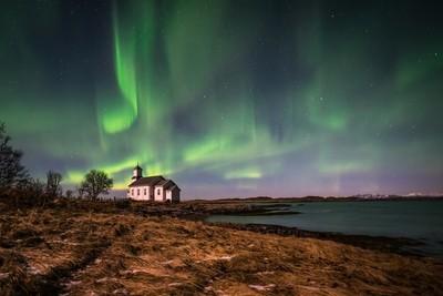 Gimsoy church under polar light - Lofoten Norway