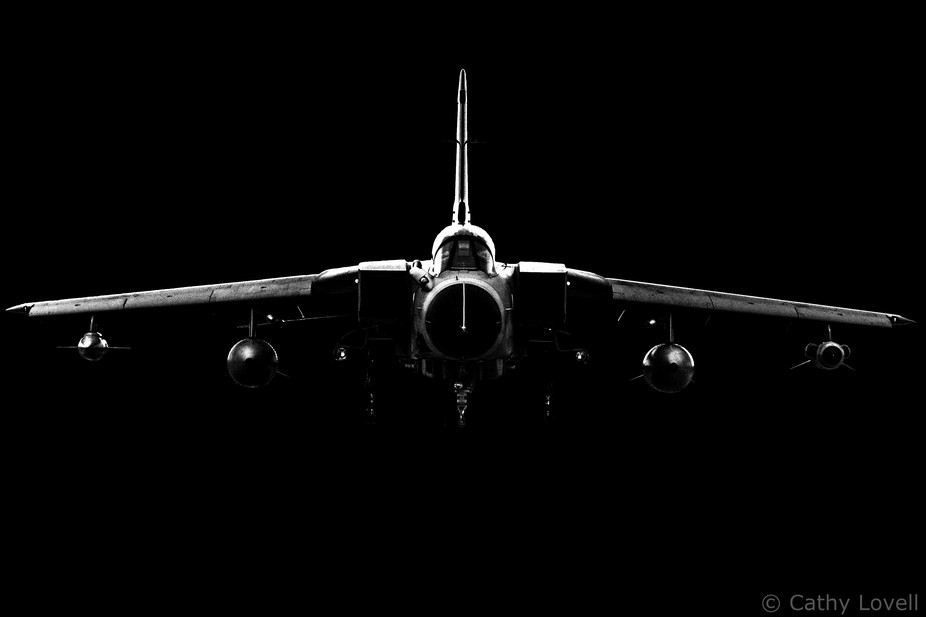 A dark edit of a Panavia Tornado head on as it taxied in to RAF Fairford for the Royal Internatio...