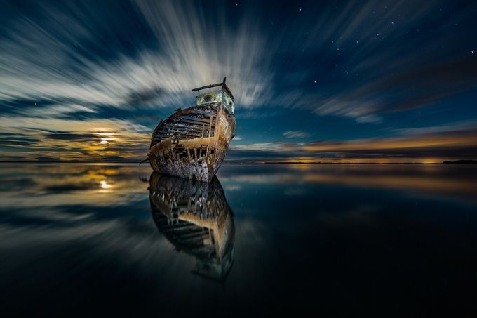 Ghost ship III by brodie - Our World At Night Photo Contest