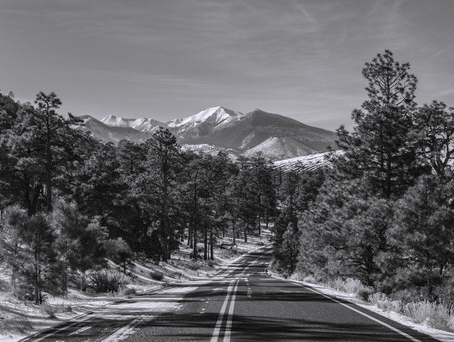 Winter road to snow covered landscape in black and white