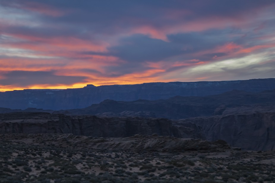 The colors of the dusk sky over the Grand Canyon
