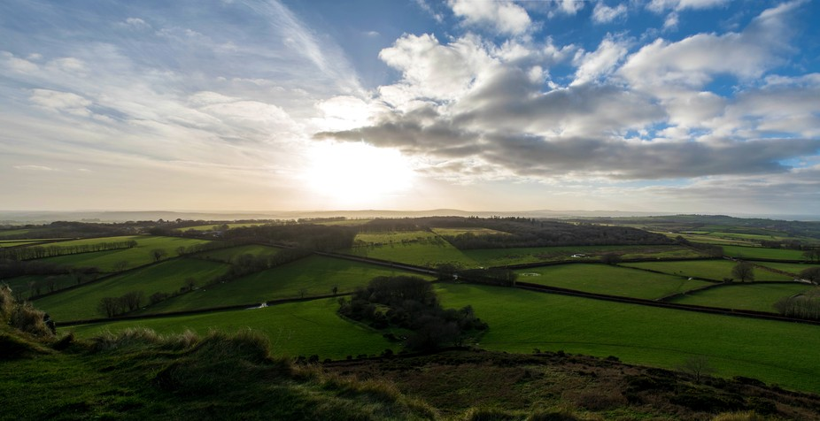 The view from Brentor on Dartmoor, Devon. One winter day.