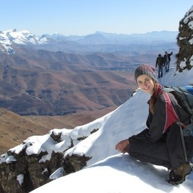 Our first real snow hike in the Drakensberg mountains in South Africa