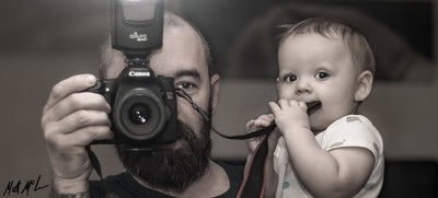 father and son in the mirror