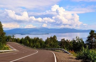 Russia.Kola peninsula.Road Kandalaksha-Umba.