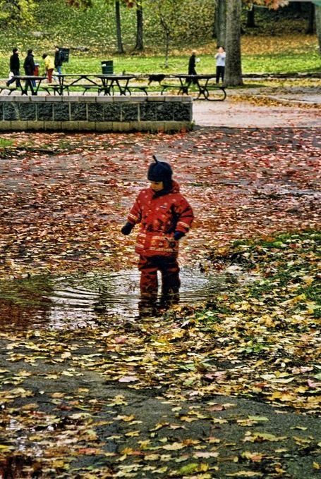 Was enjoying the beautiful fall day in Montreal and saw this little boy testing his boots!!