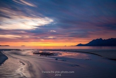 Som calm minutes frome North of Norway. Late sunset in summertime