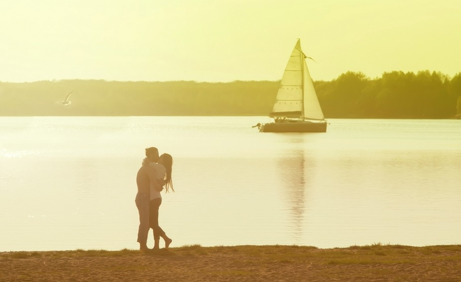 couple in love on the lake