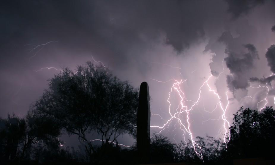 Some dramatic lightning in the Sonoran desert.