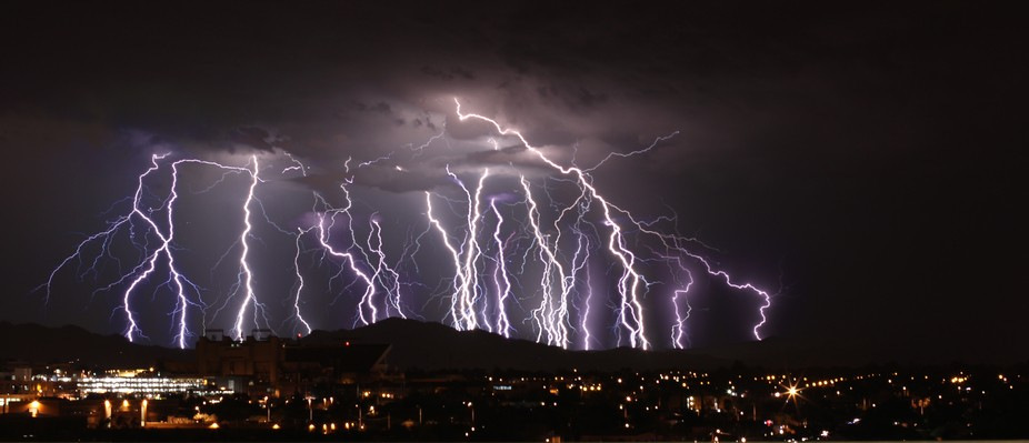 Shot across the city of Tucson during a powerful summer monsoon storm